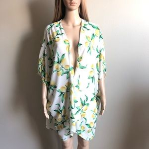 Oversized Lemon Print Kimono S EUC